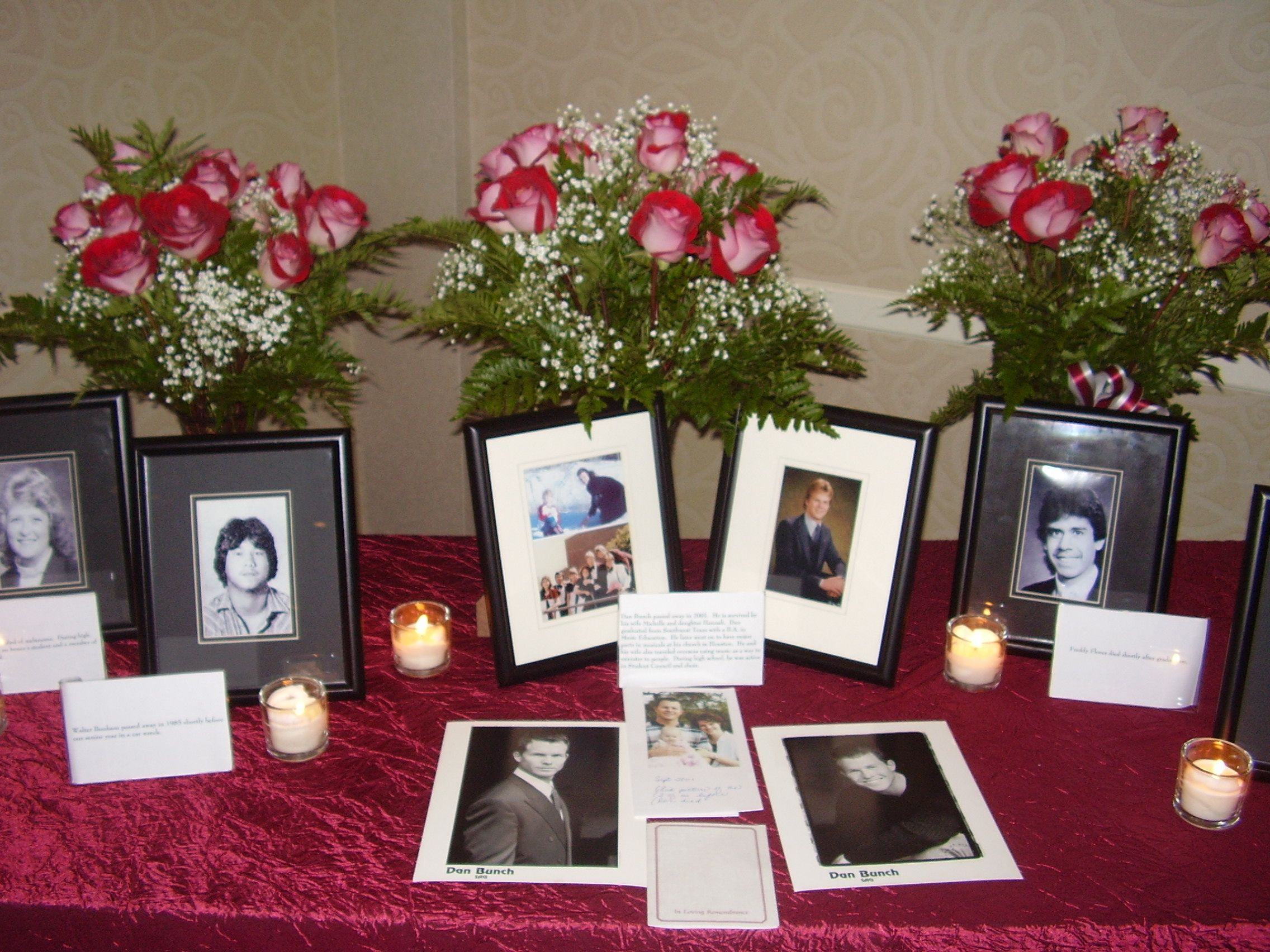 Memory Table Ideas find this pin and more on memory table Class Reunion Memorial Ideas 5 Ways To Honor Deceased Classmates