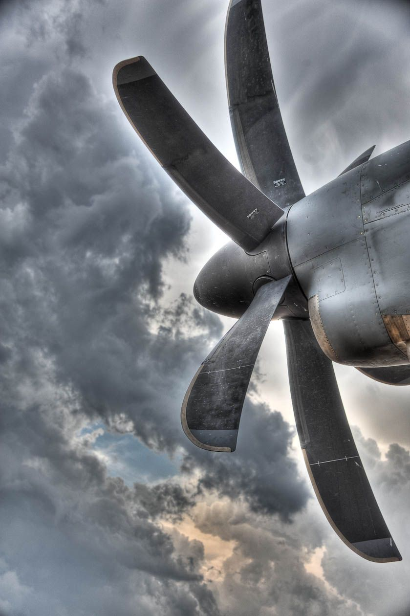 C-130J Prop under a Texas Storm. The C-130J Super Hercules is the featured aircraft for the 2013 Air Force Marathon