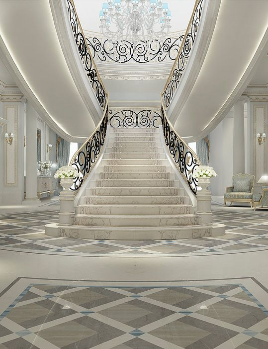 Luxury interior design for grand staircase by ions for Luxury staircase design