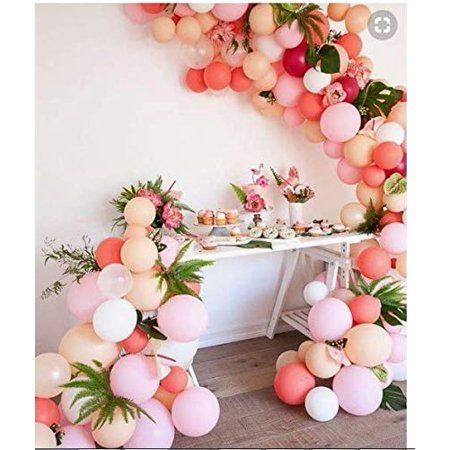 LAttLiv Balloons 100 pcs Latex Balloons Party Balloons Birthday Balloons Party Decorations Party Supplies for Birthday Wedding Graduation Party Christmas Party Baby Shower - Matte Rosy & Macaron Color