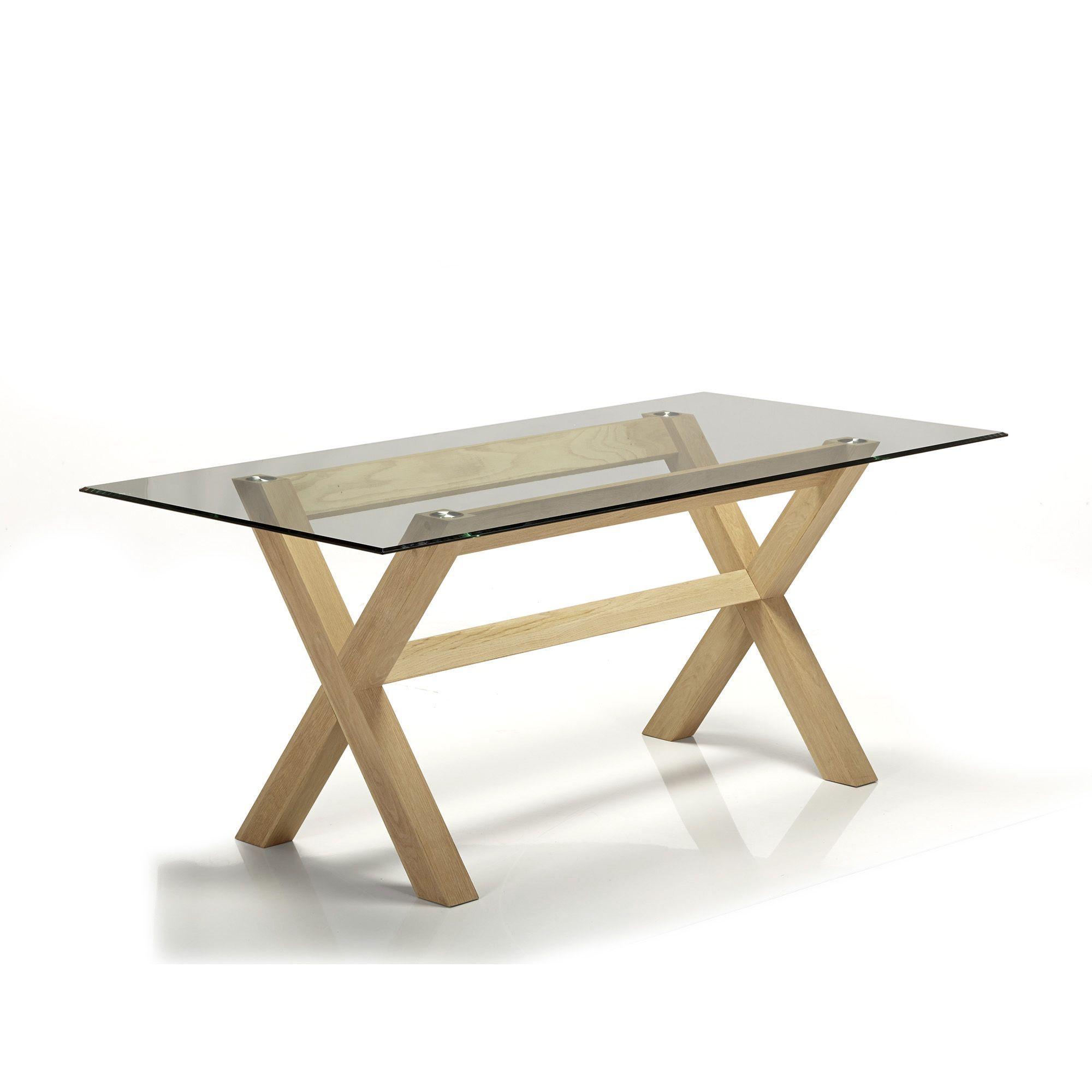Glassy Peker Table De Repas En Verre Et Chene 180x90cm Alinea