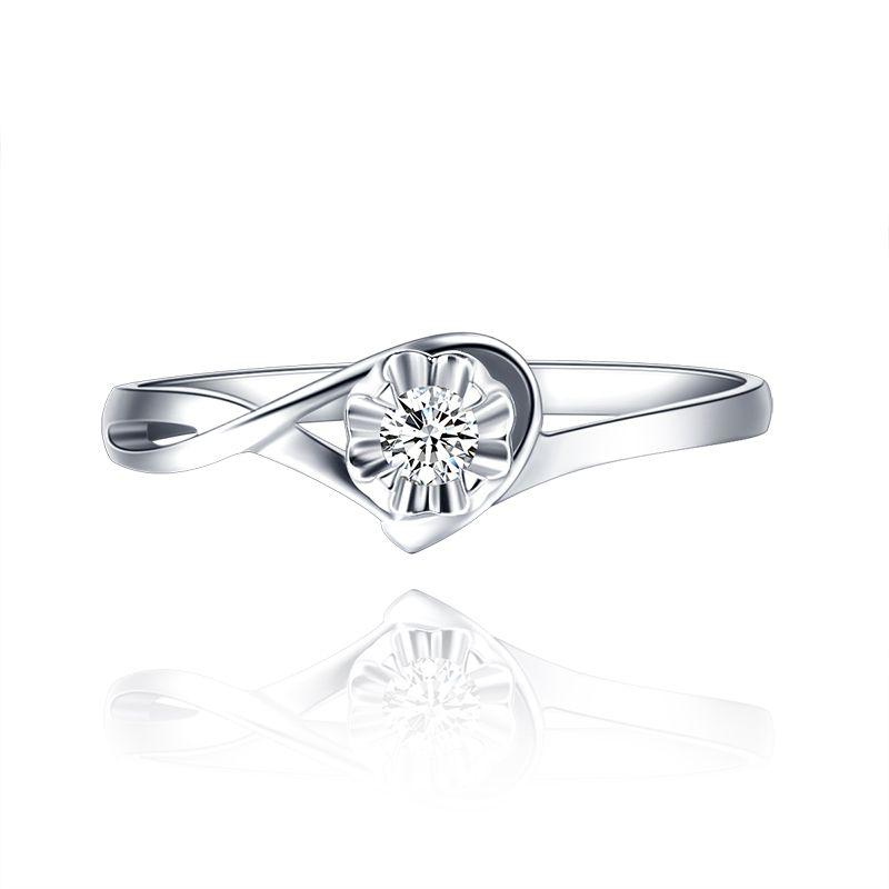 18K Gold Diamond Ring Platinum Diamond Ring Female Authentic