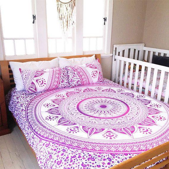Mandala Bed Cover Bedspread Hippie Bohemian Queen Bedsheet
