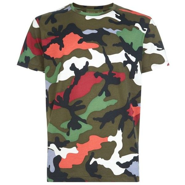 77200fe74 Valentino Camouflage T-Shirt (1.955 RON) ❤ liked on Polyvore featuring  tops, t-shirts, camo top, camouflage tee, cotton tee, camo tee and camo t  shirt