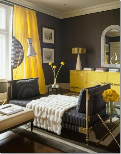 Bright Colorful Happy Interiors Addicted 2 Decorating Living Room Grey Yellow Gray Room Room Colors