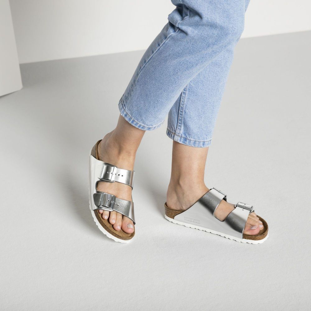 BIRKENSTOCK ARIZONA SOFT FOOTBED SILVER SANDALS SHOES EUR 40 9.5  fashion   clothing  shoes  accessories  womensshoes  sandals (ebay link) dd0885beb50