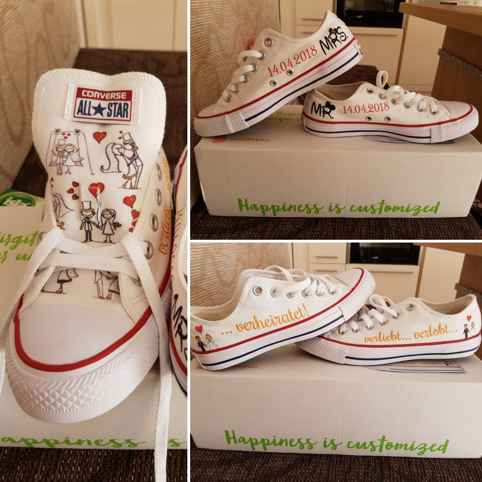 Customized Wedding Converse Chucks By Notlikeyou Converse Hochzeit Meine Hochzeit Hochzeit Planen