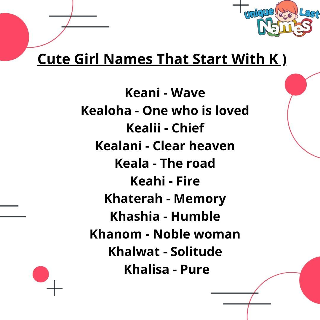 Cute Female Names  Best girl names, K girl names, Cute girl names