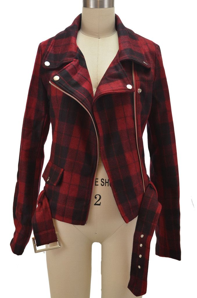 punk rock pinup wool blend motorcycle jacket - red plaid