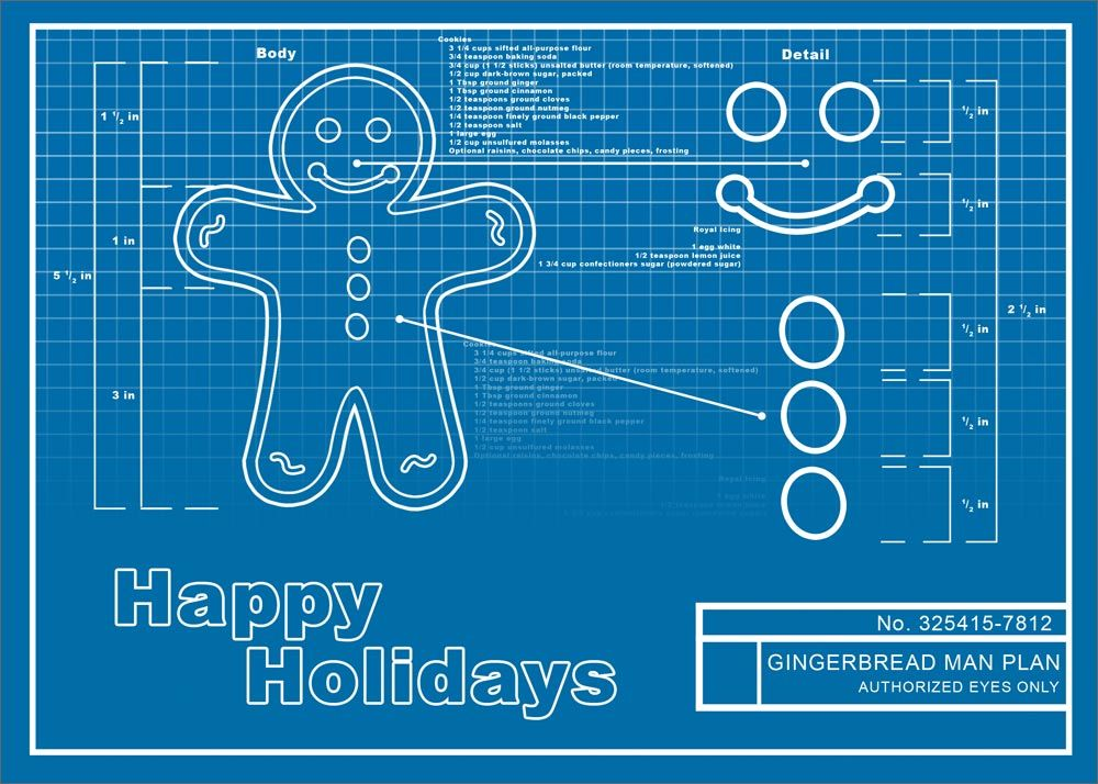 Gingerbread man blueprint cards direct gingerbread man and cards direct was able to customize the blueprint to include our companys name and the delivery malvernweather Gallery