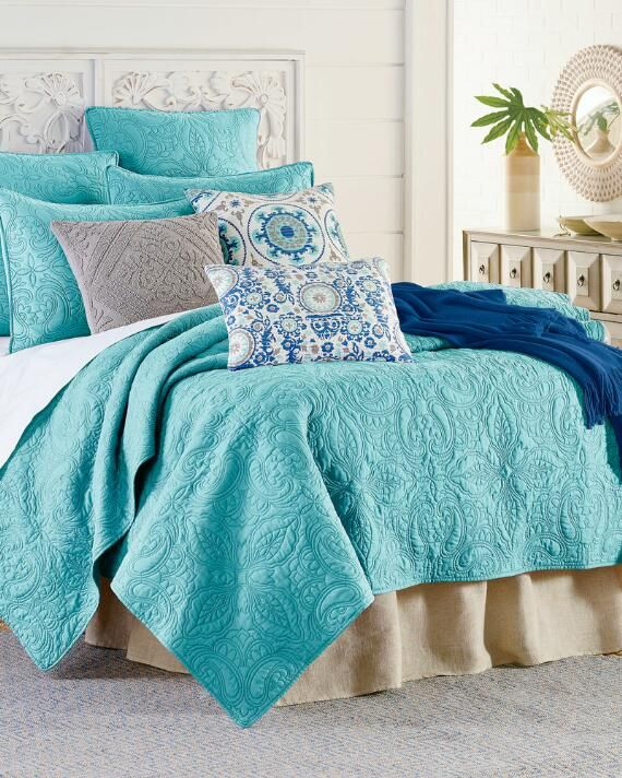 Middleton Paisley Stitched Quilt Home, Artisan Home By Nina Campbell Bedding