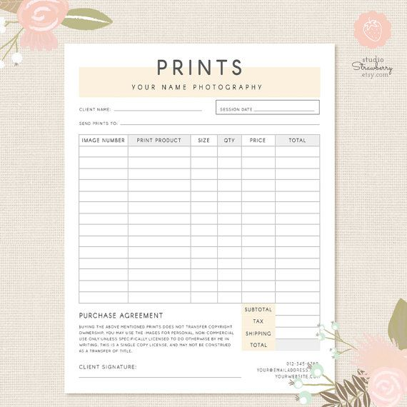 Order Form Template Photography Order Form Photography Forms