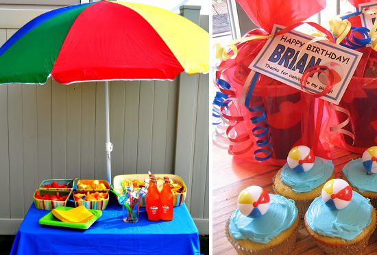 A Beach Umbrella A Mini Pool Is Great For Keeping Bottles Canned Beverages Cold Then Cupcake Boy Birthday Parties Pool Birthday Party Beach Birthday Party