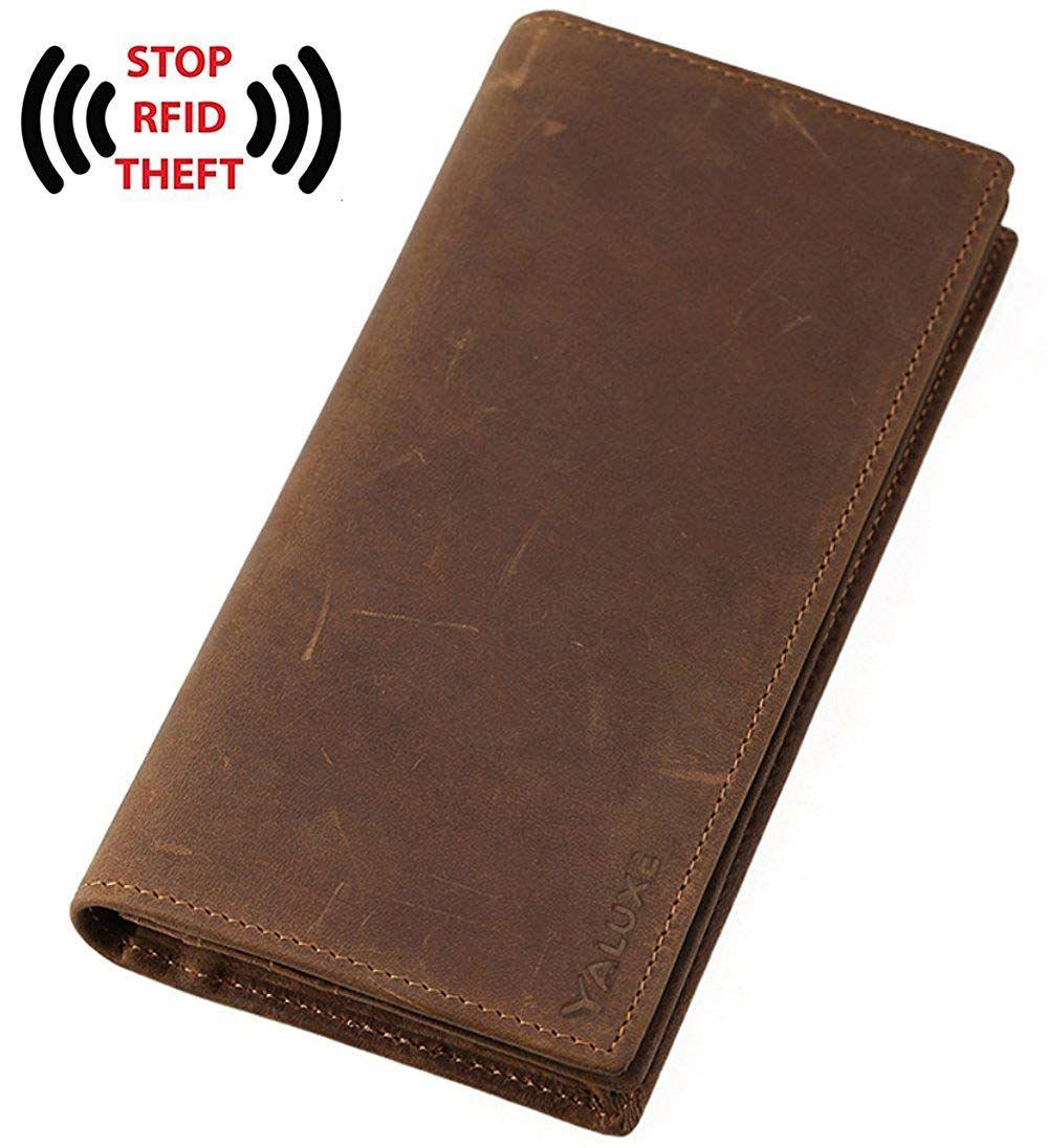 ba1e70019b5a6 Amazon.com  yaluxe Geldbörse Herren Leder Portemonnaie RFID-blockierender  lang Shield vor Identitätsdiebstahl