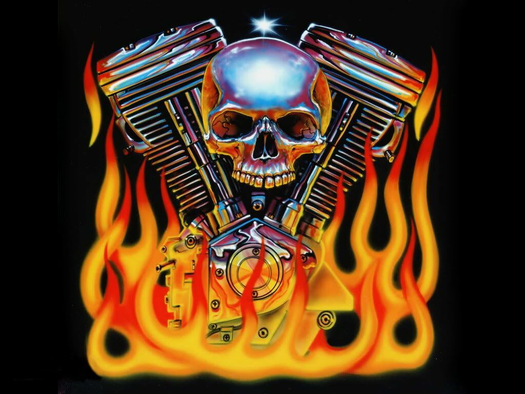 Awesome Skull Wallpapers Wallpapers Browse: Vtwin Engine With Skull And