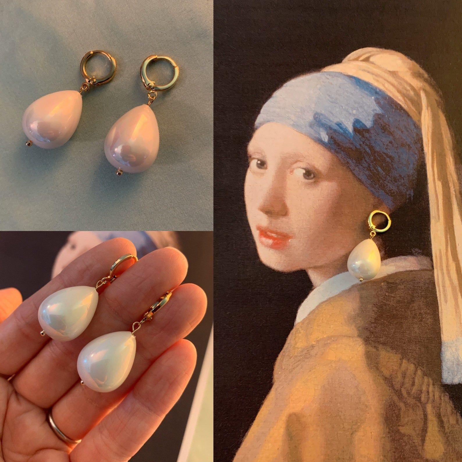 16k gold plated brass loops HUGE Champagne PEARL Earrings Large SHELL Pearl Teardrops Large dark Champagne Pearl Heavy earrings