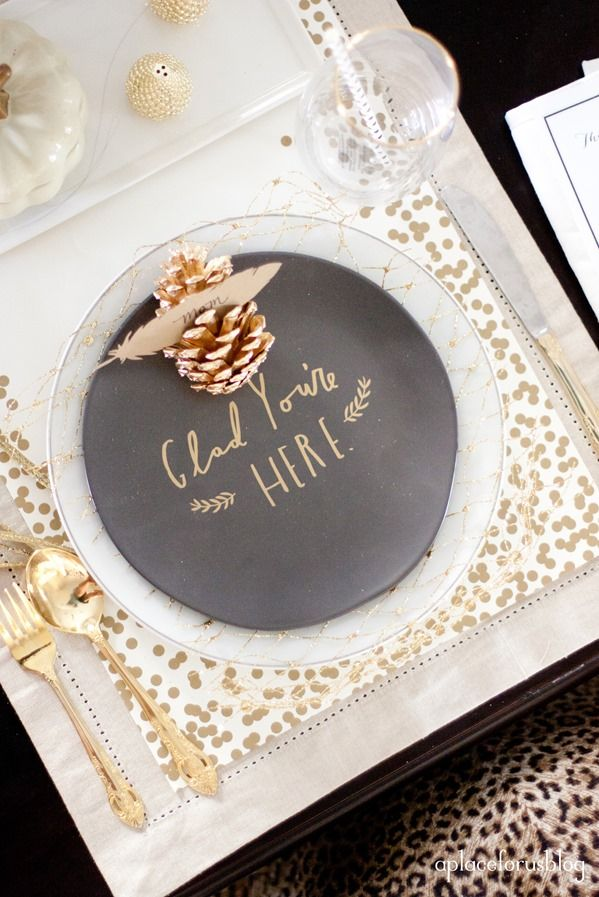 Beautiful Thanksgiving Table Idea - DIY custom chalkboard place settings with golden pine cones & A Gilded \u0026 Glamorous All Hallows\u0027 Eve Wedding | Thanksgiving table ...