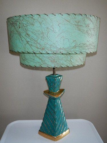Vintage Mid Century Modern Retro Table Lamp Aqua Gold Green