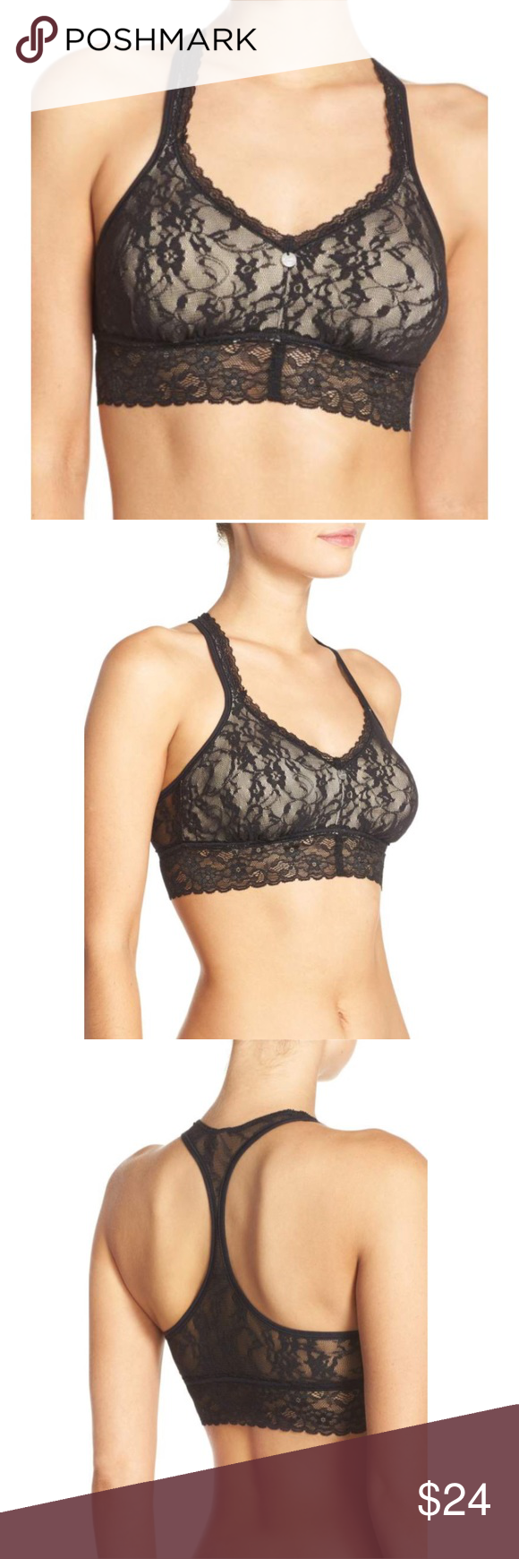e641386616fe0c DKNY Signature Lace T-Back Padded Bralette L T-Back design. Removable pads.  Black. Other colors available. Wire free. Pull over design.