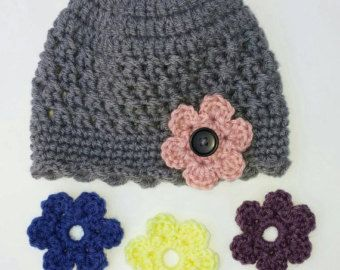 Items similar to Brown Organic Crochet Baby Hat with Interchangeable Flowers on Etsy