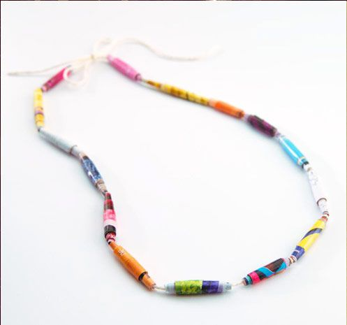 Recycled Beaded Necklace how-to from www.pizzahut.com/camp