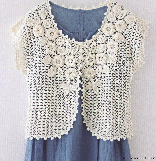 Beautiful crochet Irish Lace (on yoke) bolero or vest ...