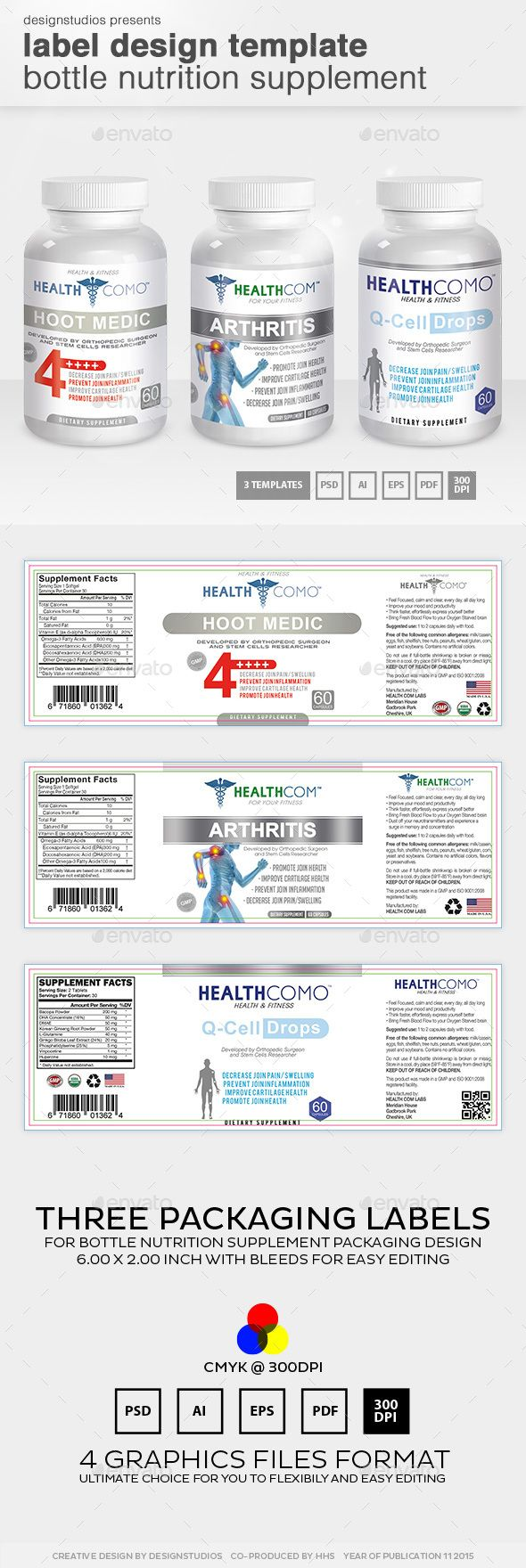 Label Design Template Bottle Nutrition Supplement | Template, Bottle ...