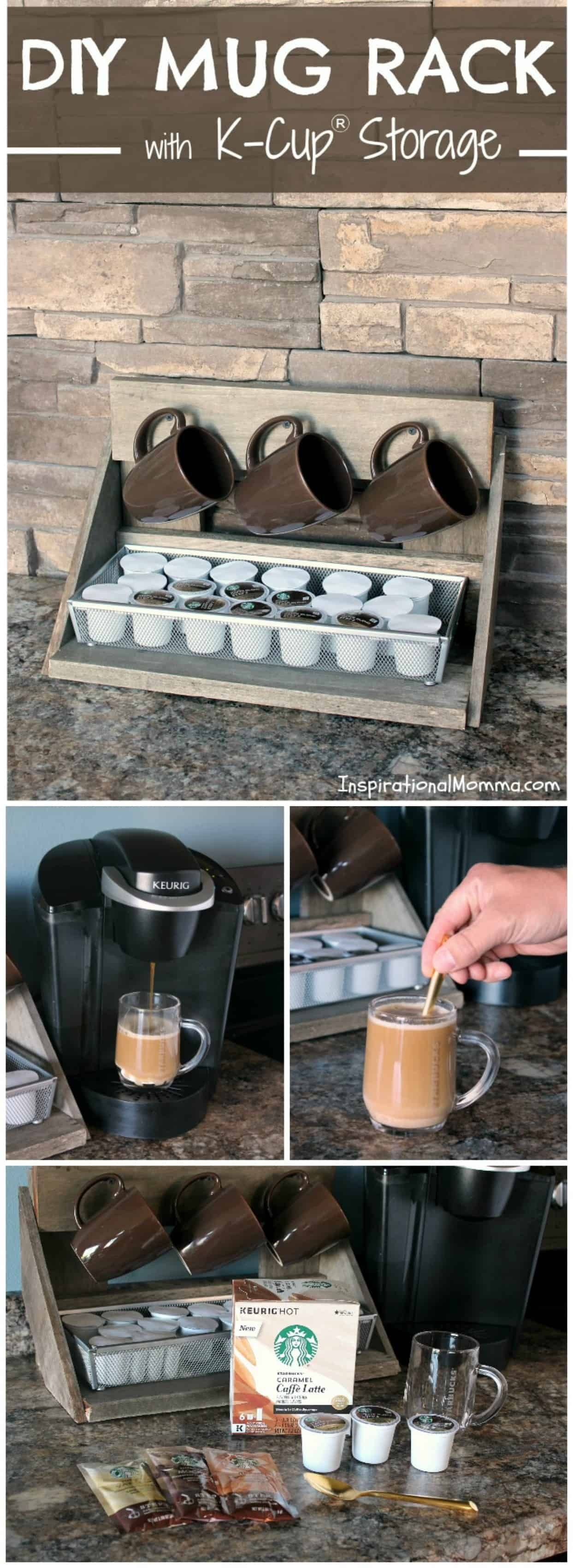 DIY Mug Rack with K-Cup Storage