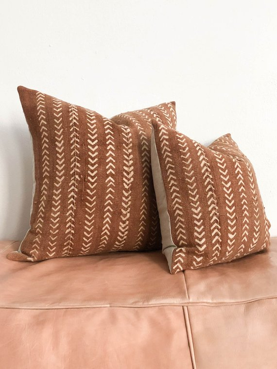Red Rust Mudcloth Pillow Throw Pillow Boho Pillow African
