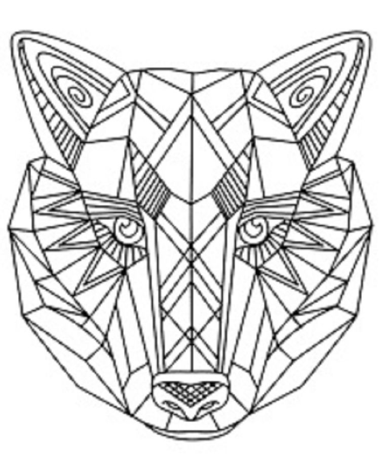Geometric Wolf Coloring Pages Coloring Pages For Kids