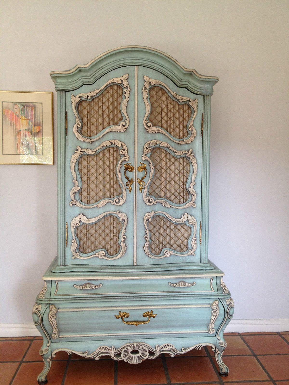 Exquisite Blue Rococo SemiAntique Bedroom Suite eBay