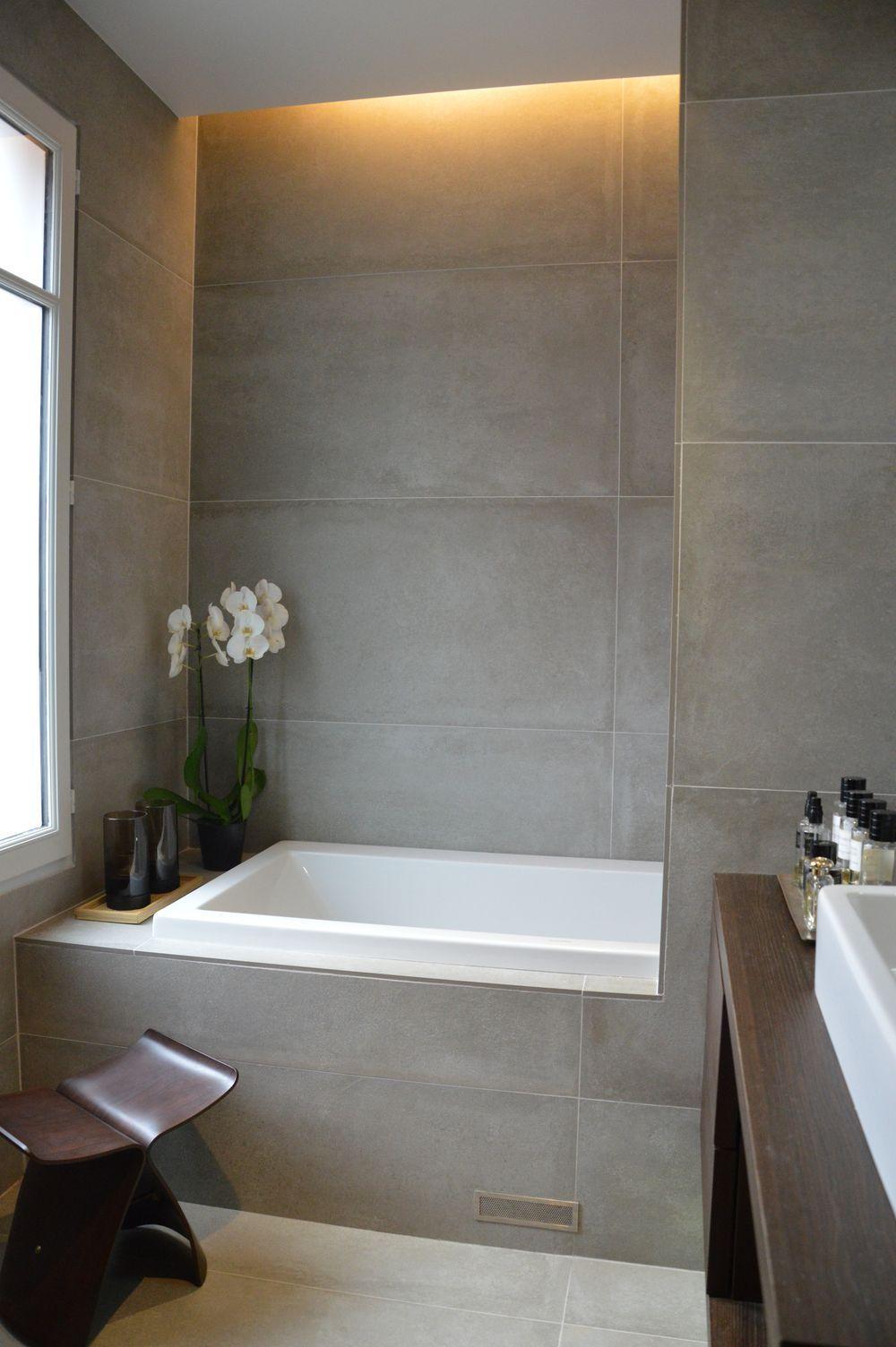 Salle De Bain Ottawa ~ salle de bain grandes dalles de carrelages bathroom pinterest