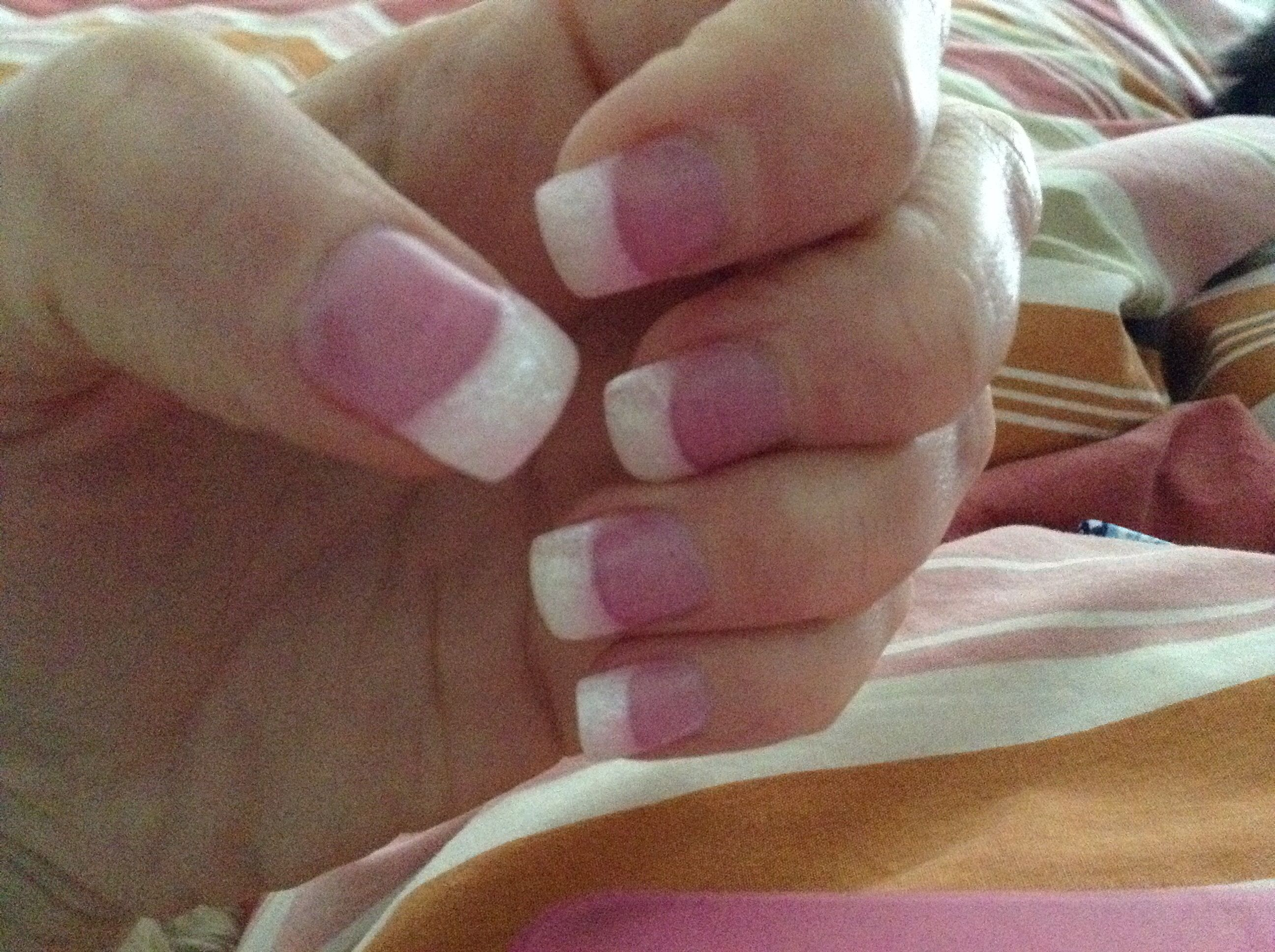 My pink and white liquid gel nails with sparkle on the white! | Nail ...