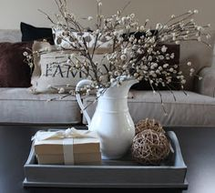 Use Trays Gles And Plants To Decorate Dining Room Table Google Search