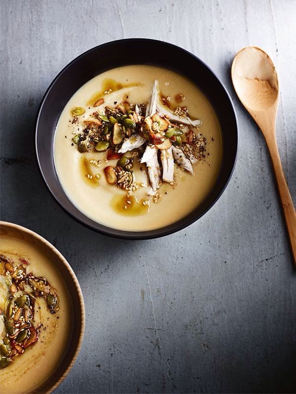 creamy cauliflower, chicken and split pea soup with spiced seeds from donna hay magazine winter issue 81