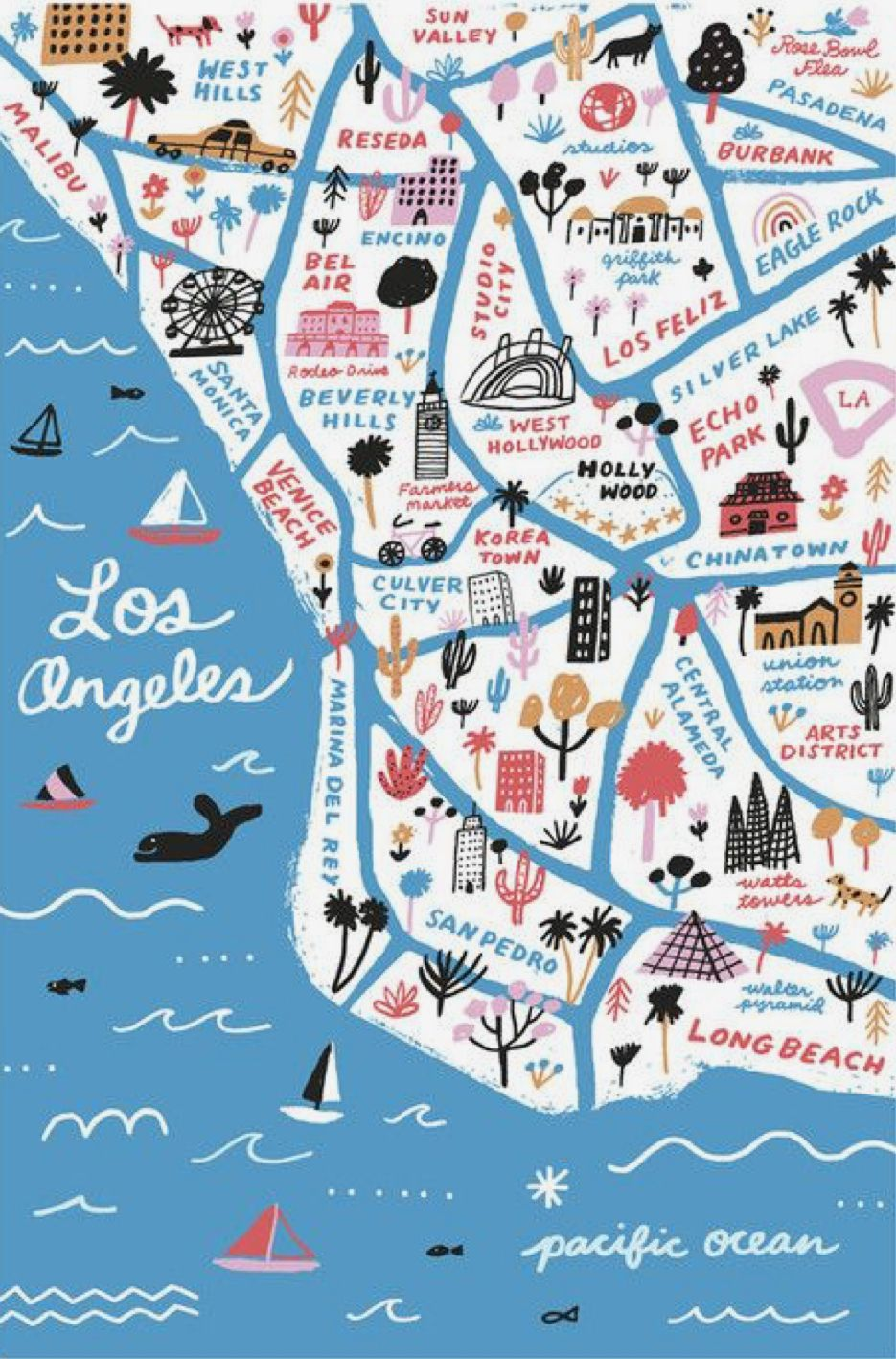 Pin By Kim Lauderdale On Cool Illustrations Los Angeles Map Los Angeles Art Illustrated Map