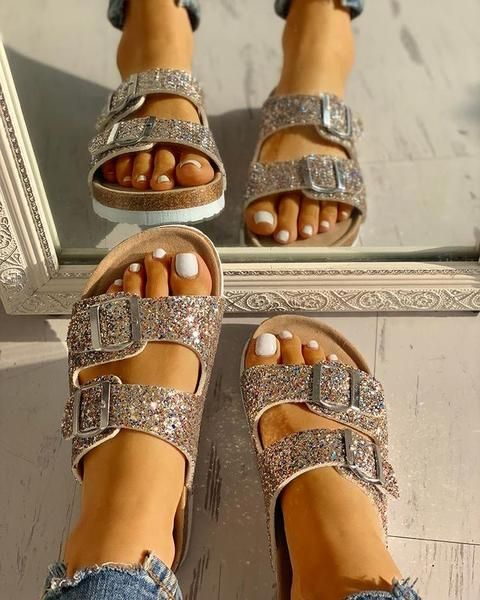 Casual Stroll Sequin Double Buckle Flats Flat sandals