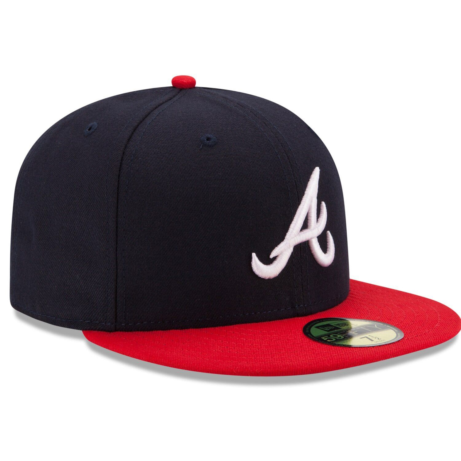 Men S New Era Navy Red Atlanta Braves Home Authentic Collection On Field 59fifty Fitted Hat Affiliate Atlanta Affiliate Fitted Hats Atlanta Braves Braves