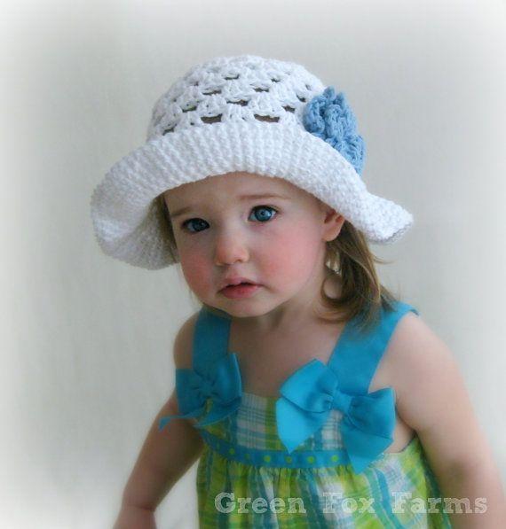8ea19b84d9e CUSTOM Baby Crochet Easter Bonnet Infant Sun Hat with Flower Boutique Girls  Sun Hat MADE to ORDER Baby Easter Bonnet
