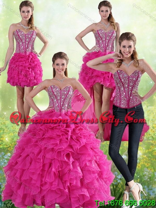 b748f1ab0e Detachable Hot Pink Sweetheart Quinceanera Gown with Beading and Ruffles