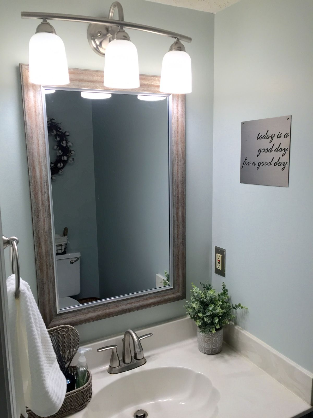 Farmhouse Small Half Bath Renovation Fixer Upper Bathroom In Sherwin Williams Sea Salt And Dorian