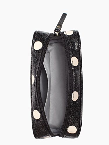 Kate Spade NY Cedar Street Dot Berrie Cosmetic Case – Black / Deco Beige  Keeping hair accessories, makeup brushes and other essential pieces close at hand just got a whole lot easier thanks to our pint size berrie cosmetic case. The compact size means you can easily toss it in your bag solo for daily touchups or tuck it away inside one of our larger cases for vacations and weekend getaways. Cosmetic case with zip top closure Cosmetic case with zip top closure Shiny grainy vinyl with..