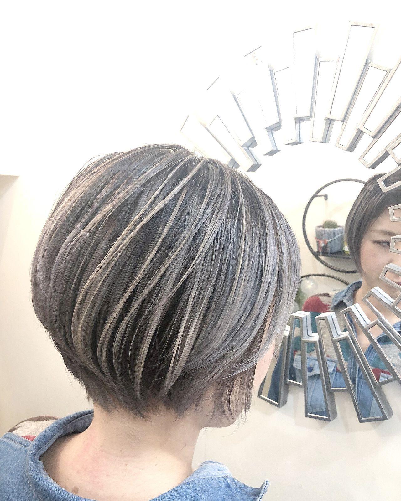 スポーツ ショート グレージュ ハイライト Rumina Rumina 高田ゆみこ 434229 Hair グレー ヘアスタイル ヘアスタイリング 50代 ヘアスタイル ショート