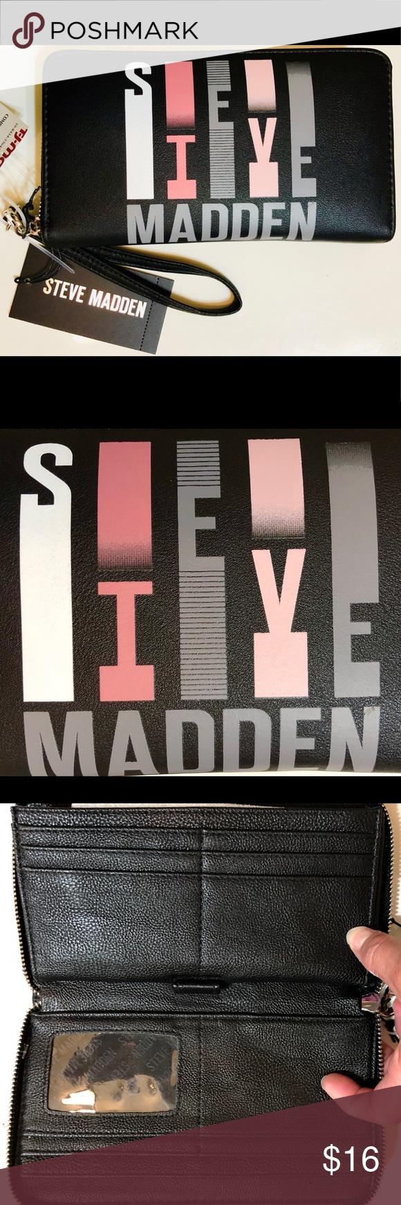 Steve Madden Nwt Vertical Logo Zip Wallet Steve Madden Zip Wallet Zip