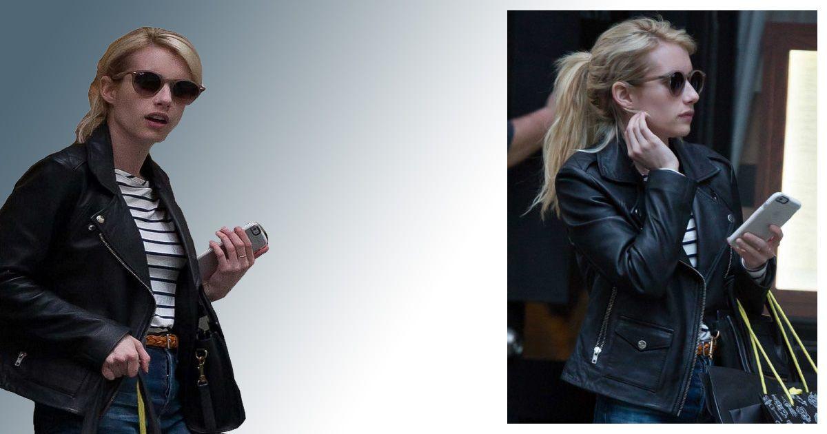 Emma Roberts Black Leather Jacket Leather Jacket Black Leather Jacket Celebrity Outfits