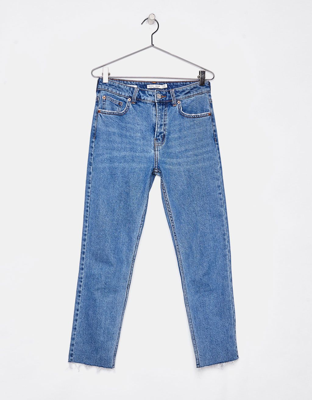 f05117afd9 Straight fit cropped jeans - Bershka  denim  straight  straightfit  jeans   blue  trendy  trend  fashion  product  girl