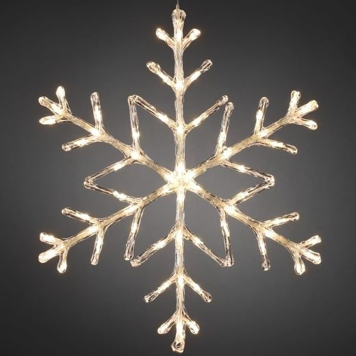 Snowflake Outdoor Christmas Light 60cm Warm White Led Battery
