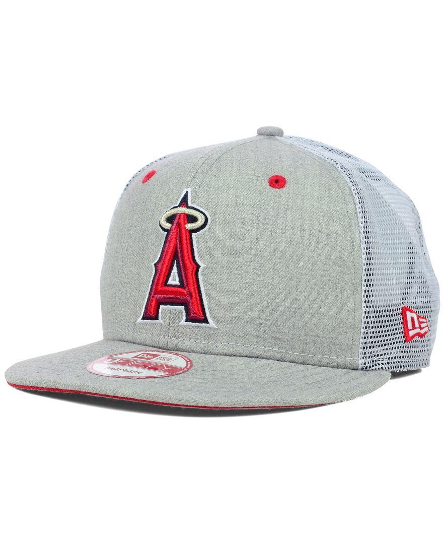 New Era Los Angeles Angels of Anaheim Heather Trucker 9FIFTY Snapback Cap fdc6907fde7