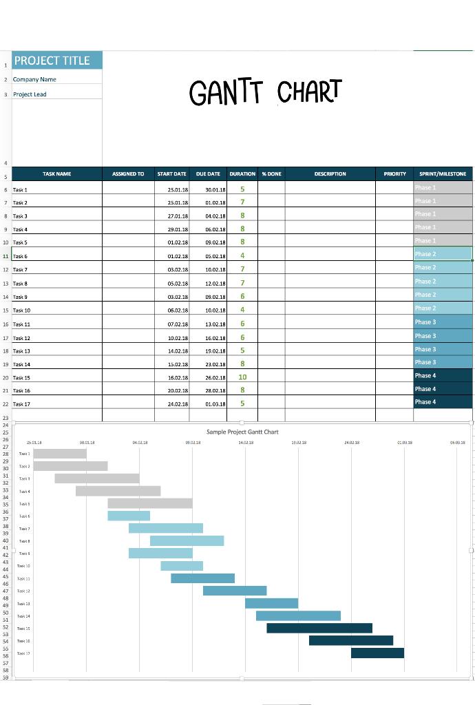 Excel Gantt Chart Template | Gantt chart templates, Gantt ...