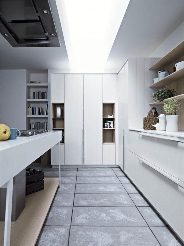 Designer Küche Trendig Ausstattung Weiße Wände Deko Design Stilvoll